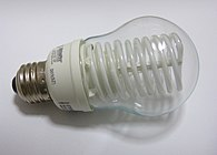 A photo of an unlit compact fluorescent lamp (CFL) of the cold-cathode variety