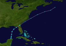 A track map of Tropical Storm Colin in early June
