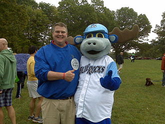 Colin Bonini - Bonini with Wilmington Blue Rocks' mascot Rocky Bluewinkle