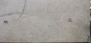 Isabella Brant (drawing) - Collector marks on the recto side. Detail, bottom right corner, L-R Prosper Henry Lankrink, Jonathan Richardson Senior and George John Spencer, 2nd Earl Spencer