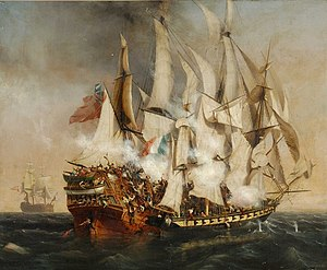 Kent (1799 ship) - Image: Combat naval l'abordage du Kent de Garneray (1836) musée de La Roche sur Yon