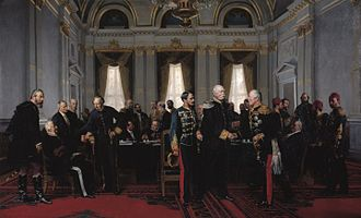 Congress of Berlin - Anton von Werner, Congress of Berlin (1881): Final meeting at the Reich Chancellery on 13 July 1878, Bismarck between Gyula Andrássy and Pyotr Shuvalov, on the left Alajos Károlyi, Alexander Gorchakov (seated) and Benjamin Disraeli