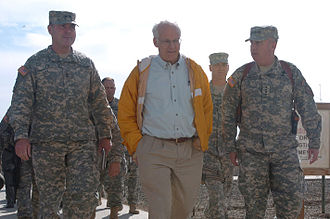Shays visited troops in Iraq 21 times between 2003 and 2009 Connecticut Congressman Visits Iraq DVIDS33764.jpg