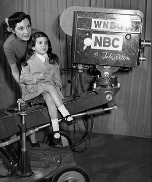 WMAQ-TV - Station camera in 1951. Singer-actress Connie Russell from Garroway at Large and her daughter are pictured.