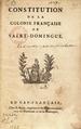 Constitution de la colonie française de Saint-Domingue, 8 juillet 1801, page de titre.png