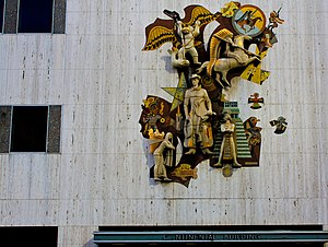 Millard Sheets - The 30 foot high mosaic on the Mercantile Continental Building in downtown Dallas was created in 1959.
