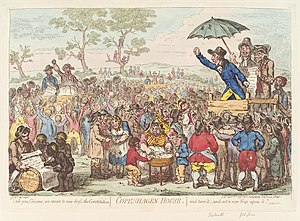John Gale Jones - James Gillray's cartoon, Jones speaking (left side) at Copenhagen Fields on 12 November 1795.
