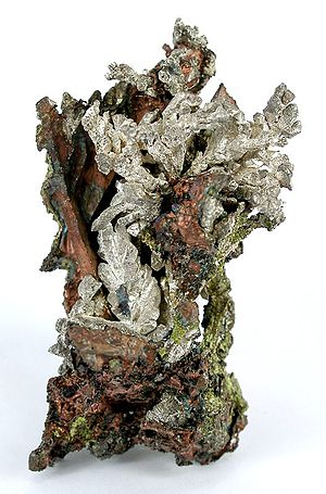 A. E. Seaman Mineral Museum - Silver-copper mineral specimen from Wolverine Mine, Houghton County, Michigan, formerly in the Seaman Museum collections. Size:  5.6 x 2.8 x 3.2 cm.