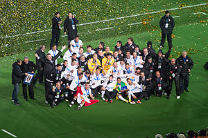 The Corinthians team is seen posing for a picture after winning the 2012 FIFA Club World Cup.