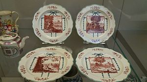 Creamware - Josiah Wedgwood: Four creamware plates depicting Aesop's Fables. Burslem, about 1771-75. Printed by Guy Green, Liverpool. On display at the British Museum, London.