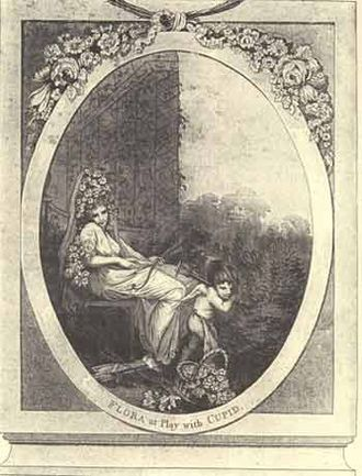 """Emma Crewe - Emma Crewe, """"Flora at Play with Cupid."""" Frontispiece to Erasmus Darwin's The Loves of the Plants"""