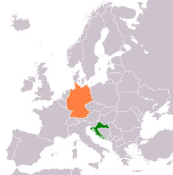 Map indicating locations of Croatia and Germany