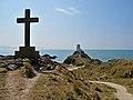 Cross and old lighthouse on Ynys Llanddwyn - geograph.org.uk - 1811263.jpg