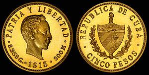 Coat of arms of Cuba - Image: Cuba 1915 5 Pesos
