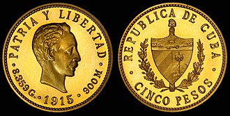 Coat of arms of Cuba - Image: Cuba 1915 5 Pesos