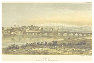 Taşköprü (Adana) - Taşköprü, with Adana and the Kizildag mountains, from a view by Edwin John Davis published in Life in Asiatic Turkey in 1879.