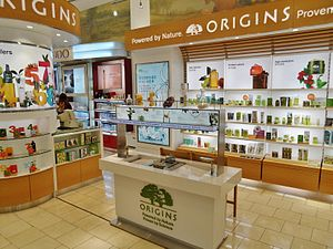 Origins (cosmetics) - Image: DFS Galleria Customhouse Auckland Origins counter 2013