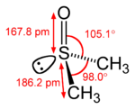 structural formula of the DMSO molecule, with bond lengths and angles
