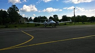 Ulyanovsk Institute of Civil Aviation - Da-42 standing at Ulyanovsk Barataevka Airport (UWLL)
