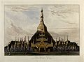 Dagon Pagoda, near Rangoon, Burma. Coloured aquatint by Will Wellcome V0050497.jpg