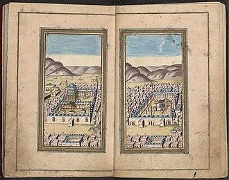 Dala'il al-Khayrat - A detail from a 15th-century manuscript of Dala'il al-Khayrat showing Al-Masjid an-Nabawi and Kaaba.