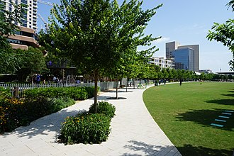 Klyde Warren Park - Path and the lawn inside the park