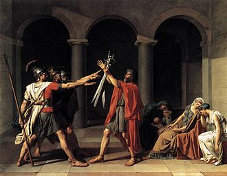 Classicism - Jacques-Louis David, Oath of the Horatii, 1784, an icon of Neoclassicism in painting