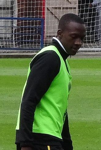 David Moyo - warming up for Northampton Town in 2014