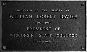 W. R. Davies - Bronze plaque at the south entrance of W. R. Davies University Center. Davies Center was the first building on the Eau Claire campus to be named for an individual.