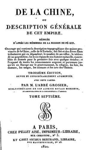 Jean-Baptiste Grosier - De la Chine, by Jean-Baptiste Grosier, 1820 edition.