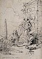Death with two clowns. Pen and ink drawing by Camille Rogrie Wellcome V0042224.jpg