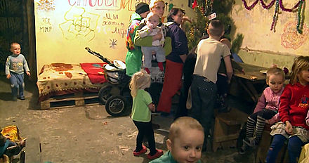 Donetsk civilians living in bomb shelter, January 2015 Ded Moroz visits children in Donetsk bomb shelter, 6 January 2015 (4).jpg