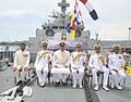 Defence Minister Arun Jaitely, Admiral Robin Dhowan and other dignitaries onboard INS Kamorta (2).jpg
