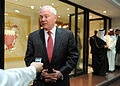 Defense.gov News Photo 110311-D-XH843-013 - Secretary of Defense Robert M. Gates makes a brief statement about the tragic earthquake and tsunami in Japan after his arrival in Bahrain on March.jpg