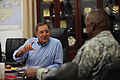 Defense.gov News Photo 110711-F-RG147-766 - Secretary of Defense Leon E. Panetta meets with Commander of United States Forces-Iraq Gen. Lloyd J. Austin III at Camp Victory Iraq on July 11.jpg