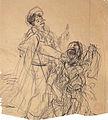 """Dehodencq A. - Ink, Pencil - Etude pour """"l'aveugle"""" - 20.3x18.3cm.jpg"""