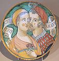 Deruta, bottega di giacomo mancini detto el frate, piatto con coppia e iscrizione, 1550 ca.JPG