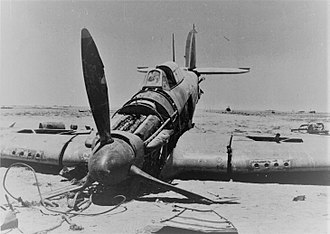 Battle of Alam el Halfa - British fighter brought down by Italian anti-aircraft fire during the battle.