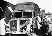 Destroyed Magirus-Deutz furniture transport van Kolno Poland 1945
