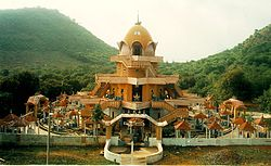 The Sahasrakshi Meru Temple, a three-story structure built in the shape of a Śrī Meru Yantra; i.e., a three-dimensional projection of the sacred Hindu diagram known as Śrī Cakra)