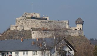 Doboj - 14th Century Doboj Fortress, reconstructed in 2006, with a wooden stage added during reconstruction