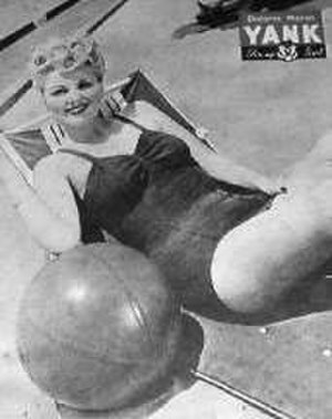 Dolores Moran - Pinup photo of Moran in Yank, the Army Weekly (1944)