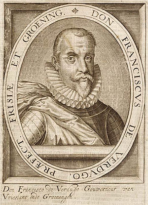 Francisco Verdugo - A portrait of Francisco Verdugo engraved by Hillebrant van Wouw