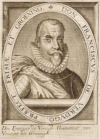 Francisco Verdugo - A portrait of Francisco Verdugo engraved by Hillebrant van Wouw
