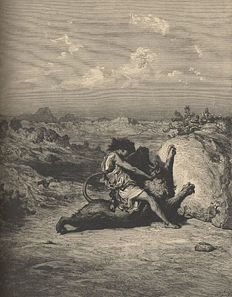"Samson's riddle - ""Samson Slaying the Lion"", Doré"