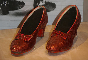 Ruby slippers - An original pair on display at the Smithsonian Institution.