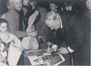 "Patrick Moore - Patrick Moore signing his book ""The Astronomy of Birr Castle"" at NIHE - 1985"