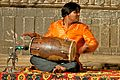 Drummer accompanies Rajasthani dancing (4571283613).jpg