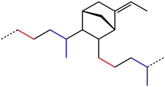 EPDM rubber - Idealized EPDM polymer, red = ethylene-derived, blue = propylene-derived, black = ethylidene norbornene-derived.