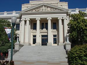 Utah County, Utah - Image: East (closer) at Historic Utah County Courthouse, Jul 15